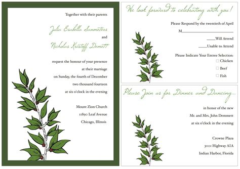 invite card template sle wedding invitation template card invitation templates