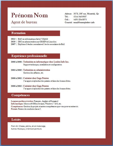 Rédiger Un Cv Exemple by Exle Resume Modele Cv Anglais Telecharger Gratuitement