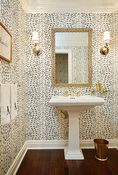 can i wallpaper a bathroom chic powder room boasts walls clad in thibaut tanzania