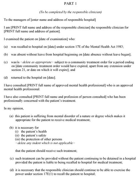 section 17 leave mha the mental health hospital guardianship and treatment