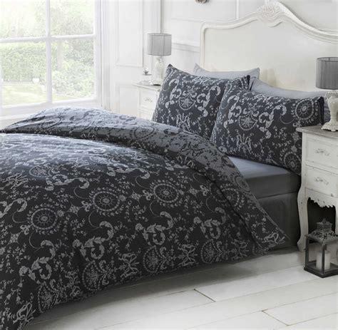 Black Duvet Cover Luxury Damask Print Duvet Quilt Cover Pillowcases