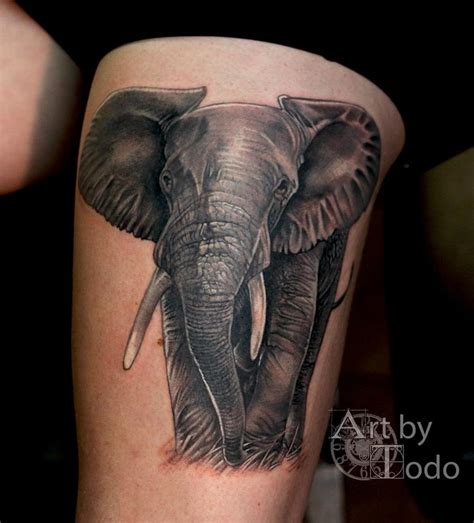 african elephant tattoo elephant by todo tattoonow