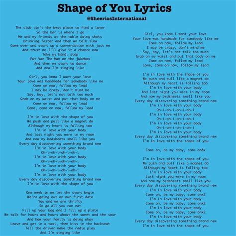 lyrics of song shape of you lyrics ed sheeran a z lyrics