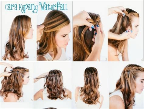 tutorial cepol rambut untuk pesta tutorial kepang rambut air terjun merahputih