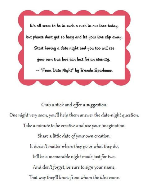 bridal shower idea: place a jar & this poem on a table