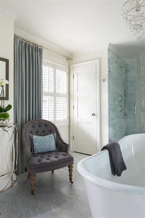 spa blue bathroom spa bathroom with purple tufted chair with blue damask
