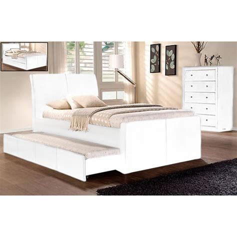 Single Size Bed Frame Lecca King Single Size Bed Frame W Trundle In White Buy Single Bed Frame