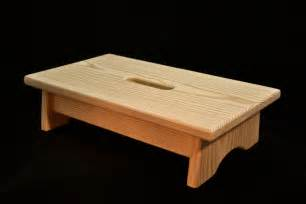 small wood step stool with handle unfinished pine