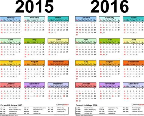 7 Year Calendar Template 1 Pdf Template For Two Year Calendar 2015 2016