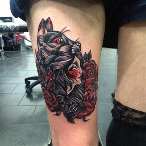 tattoo girl wolf wolf girl tattoo tattoos pinterest