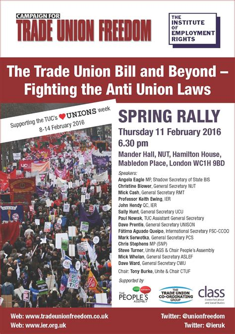unite the resistance caign for trade union freedom host meeting on trade union bill during