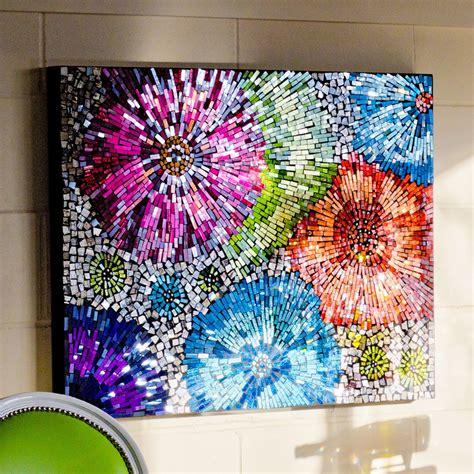 Mosaic glass flowers wall art be fabulous
