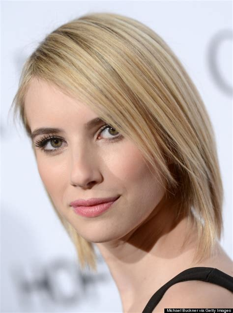 short hair styles for 22 year olds emma roberts debuts sleek shorter haircut huffpost
