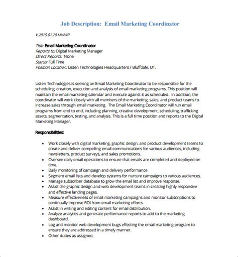 marketing assistant description marketing coordinator description template marketing