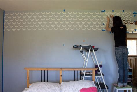 Modern Mid Century Room Makeover And Stenciled Accent Wall Master Bedroom Paint Idea
