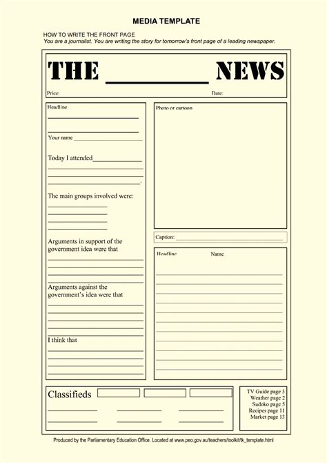 newspaper templates for pages blank newspaper article template for kids template