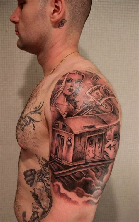 tattoo gangster awesome grey gangsta on left half sleeve