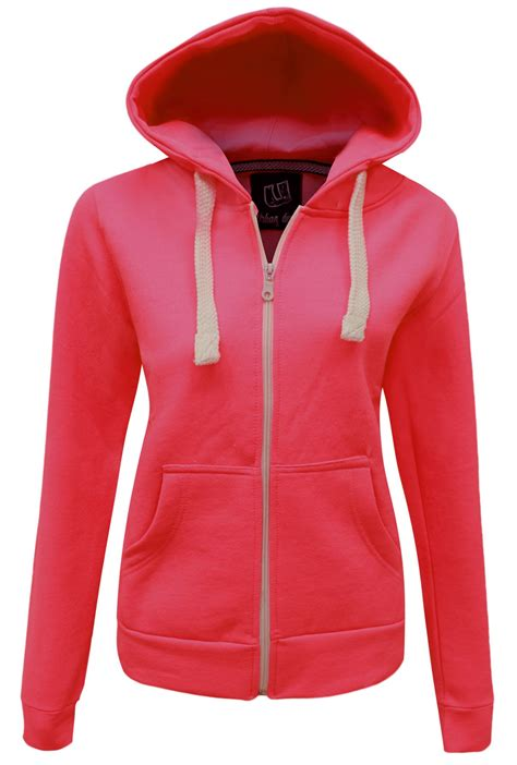 Jacket Jipper Hoodie 20 new womens plain zip hoodie sweatshirt fleece hooded jacket sizes 6 20 ebay