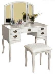 tri folding mirror vanity set 3 pc make up table padded