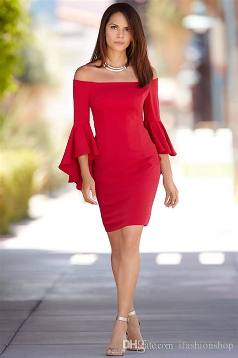 Best Seller Mira Syarii Maroon the shoulder flare sleeve sheath dress