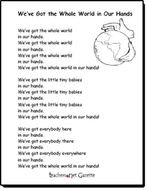 printable lyrics we are the world we ve got the whole world in our hands earth day song