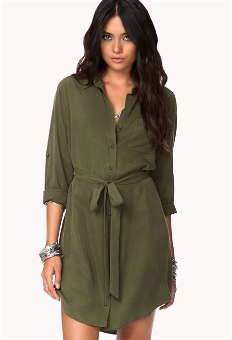 Classic Shirt Dress forever 21 classic shirt dress w sash in green lyst