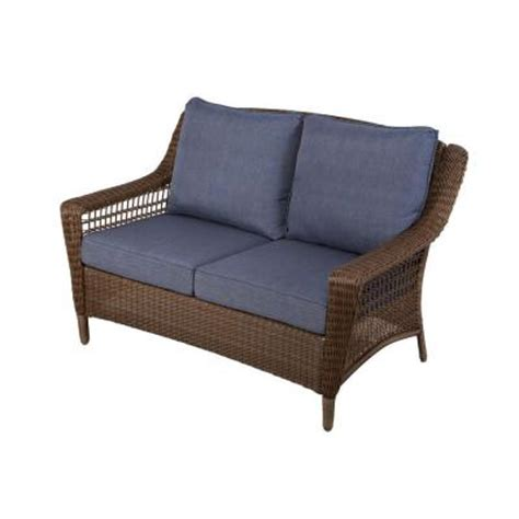 patio furniture loveseat hton bay spring haven brown all weather wicker patio