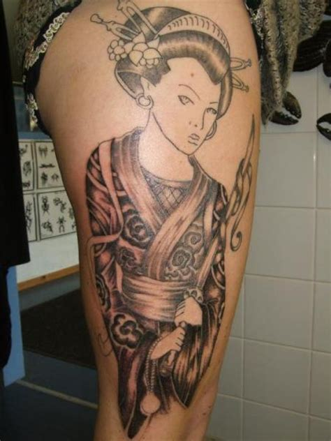 geisha tattoo on thigh leg japanese geisha tattoo by black scorpion tattoos