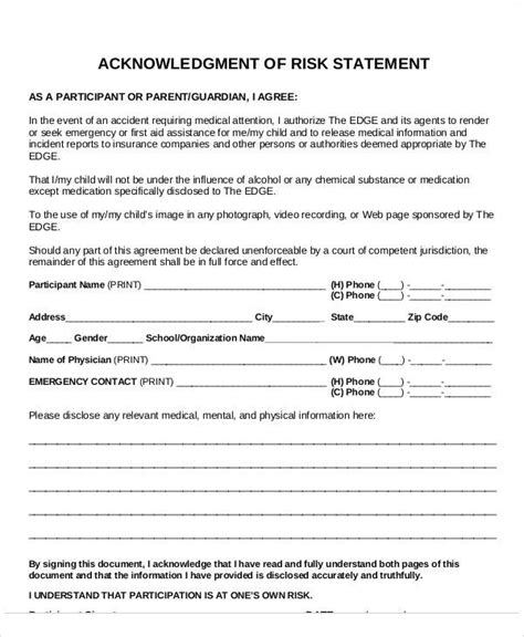 risk statement template statement form