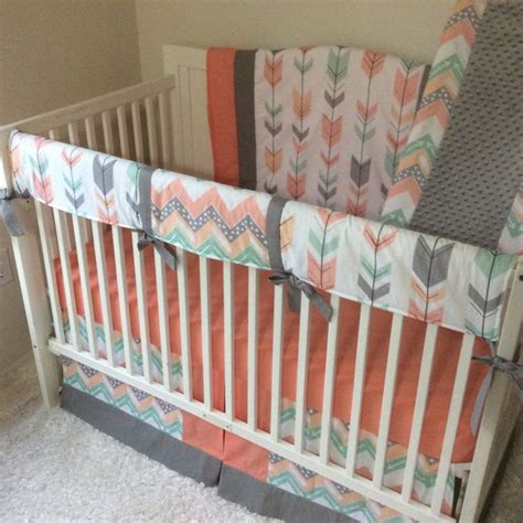 mint baby bedding 20 best coral mint peach and gray nursery images on