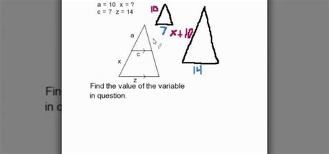 how to find a missing part of a triangle similar to