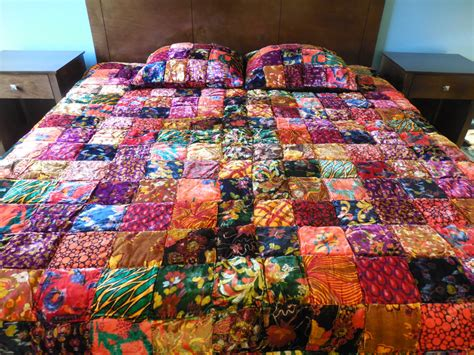 Velvet Patchwork Comforter - bohemian bedding velvet pillow bright colored quilt patchwork