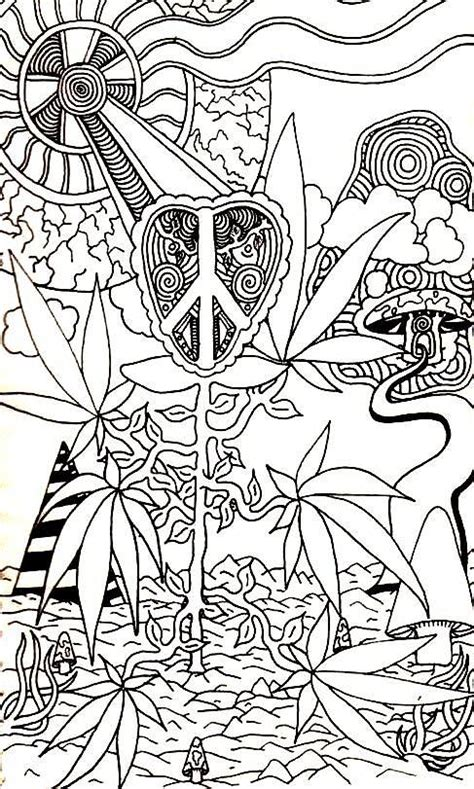 Leaves Drawing By Andrew Padula Trippy Pot Leaf Coloring Pages