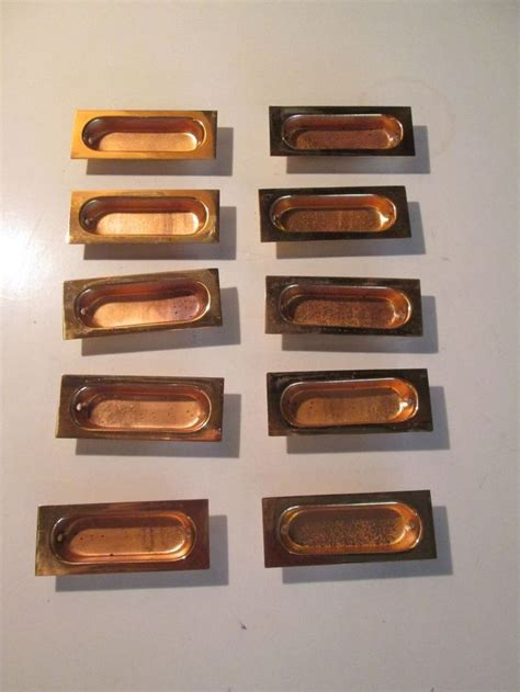 vintage lot of 10 copper recessed drawer pulls office file