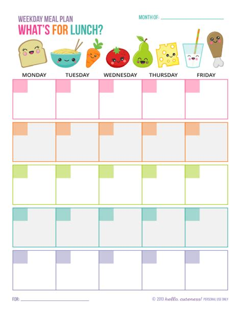 lunch calendar template free printable weekday lunch plan sheet great for