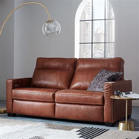 power recliner sofa leather henry 174 leather power recliner sofa 77 quot west elm