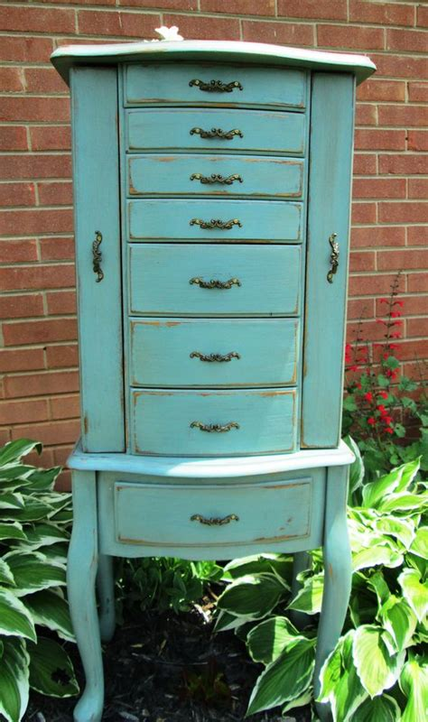 Blue Jewelry Armoire by Painted And Distressed Jewelry Armoire In Robin Egg
