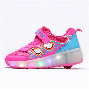 Shoes For Led Light Up Breathable Shoes With Wheels Pink Blue