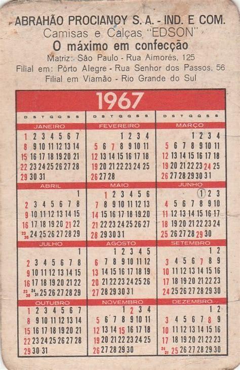 Calendario R Calend 225 Bolso 1967 Imagem Brasilia Z R 17 80 Em
