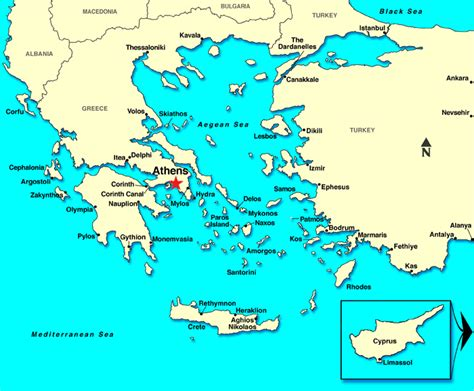 where is athens on map athens piraeus greece map images