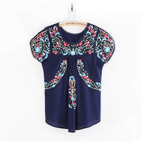 aliexpress buy vintage hippie oaxacan mexican boho blouse floral embroidered ethnic