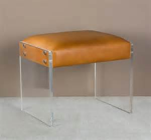 Vanity Stool With Clear Legs Image 1