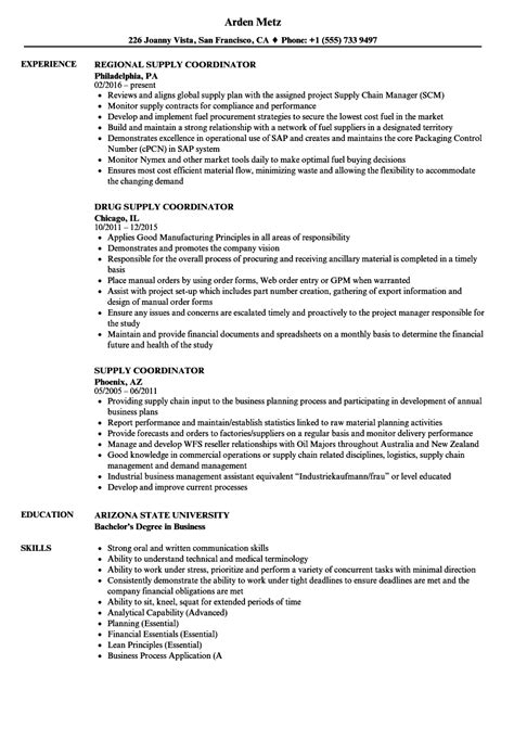 supply coordinator resume sles velvet