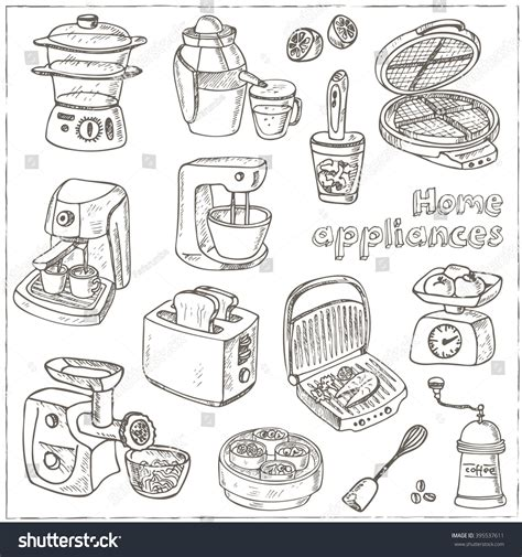 doodle and draw set home appliances themed doodle set sketches stock vector