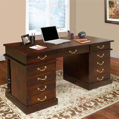 rustic solid wood  drawer rectangular pedestal home office desk