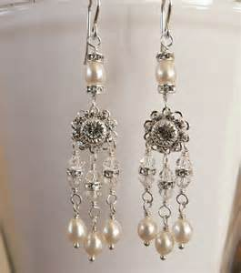 Crystal And Pearl Chandelier Earrings Crystal And Pearl Chandelier Earrings By Ofthewest On Etsy