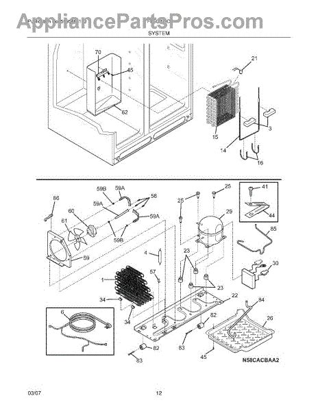 frigidaire gallery refrigerator parts diagram frigidaire 241697501 pan defrost drain