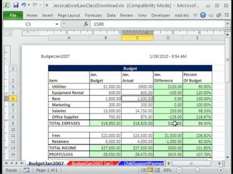 Law Class Excel 1 Create Comparative Budget Jessica S Law Class Youtube Budget Vs Actual Spreadsheet Template