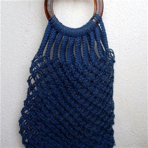 Macrame Shopping Bag - navy blue woven macrame shopping tote from