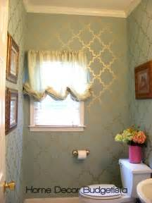 bathroom wall stencil ideas home decor budgetista powder room thirty dollars update